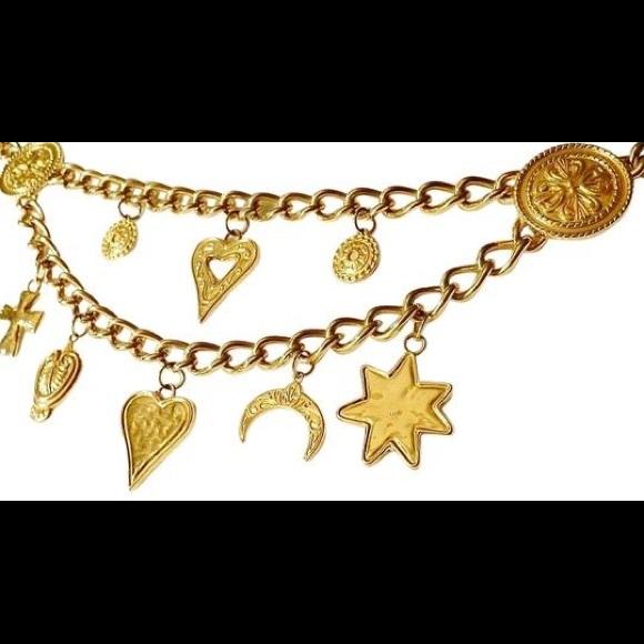 Escada Accessories - Vintage ESCADA Heavy Gold Chain Charm Belt